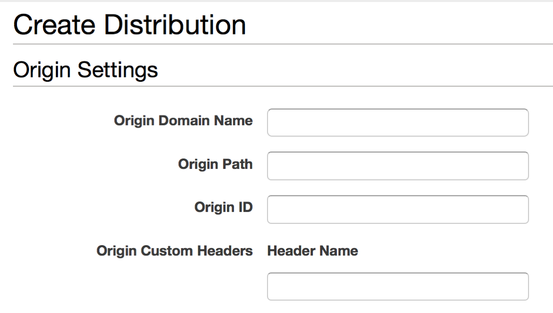 CloudFront distribution configuration