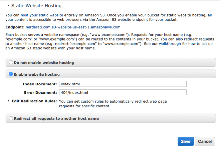 Configuring S3 bucket for static website hosting.